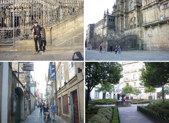 Commemorative photo in front of the cathedral. Leaving the Praza do Obradoiro for the hotel. The street to the booked hotel. Praza de Fonseca on the way to the hotel. The of Santiago de Compostela