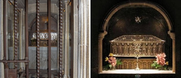 The tomb of St. Jacob at the basement of cathedral and his coffin.