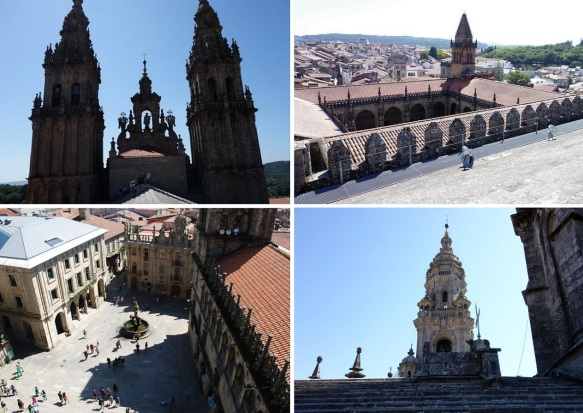 The views from the top of the cathedral roof; The spiers ,the cloister, Plaza de Pratería and the clock tower of the cathedral.