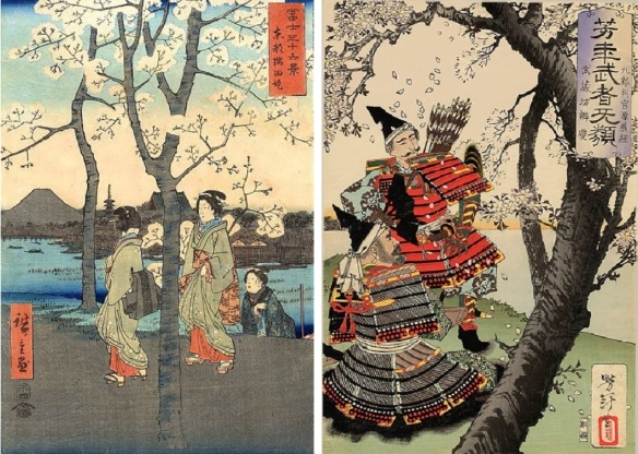 Sakura in the Ukiyo-e (Japanese woodblock print), Mt. Fuji and women, and the historical tragic hero with his retainer, under the cherry blossom.