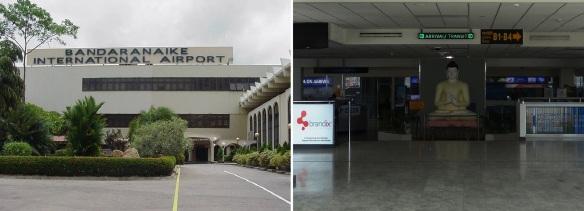 Bandaranaike International Airport and its interior.