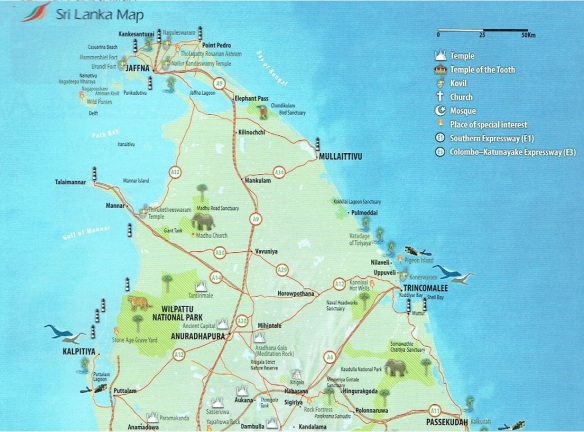 The northern half of Sri Lanka Map