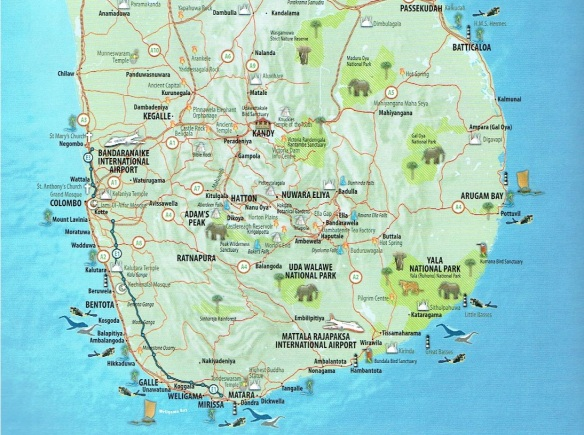 The southern half of Sri Lanka Map