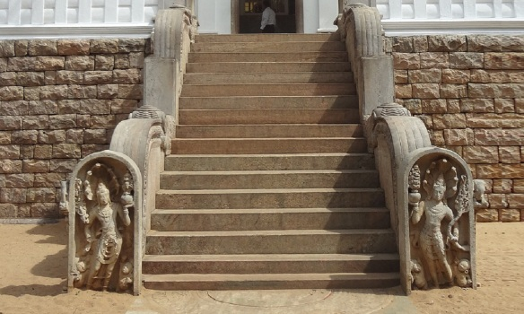 Stone steps up to the hall