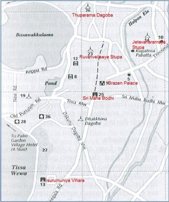 Map from Isurumuniya Vihara to Sri Maha Bodhi,