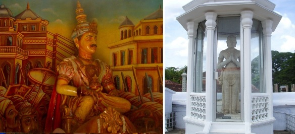 Portrait and statue of King Dutugamunu beside Ruwanwelisaya Stupa (161 BC – 137 BC). Photos from Wikipedia.