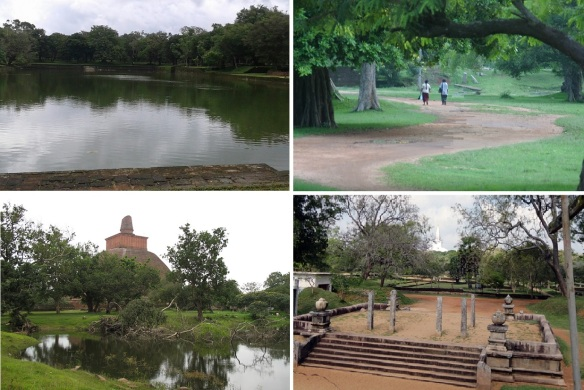 On the way walking to Jetavanaramaya; Elephant pond, Promenade, Distant view of Jetavanaramaya Dagoba and Ancient Ruins of Anuradhapura.