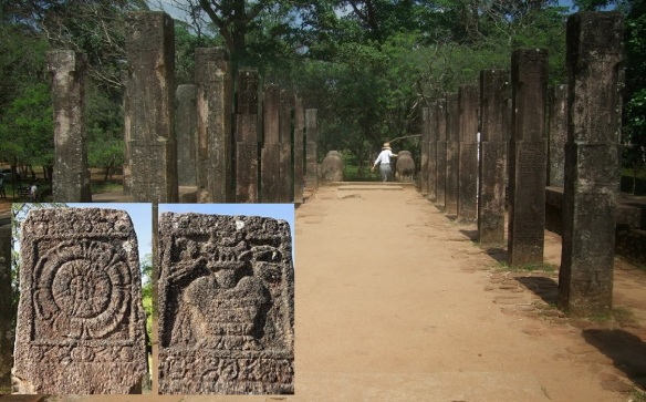 Carving stone pillars of Council Chamber of Polonnaruwa