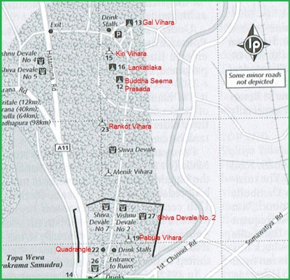 Map: Quadrangle to Gal Vihara Polonnaruwa