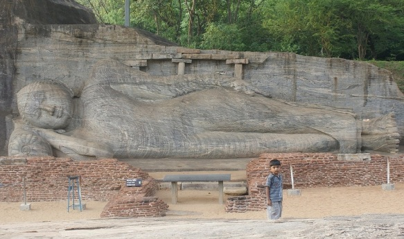 The reclining Buddha image, which depicts the Buddha's parinirvana (nirvana-after-death), is the largest in Gal Vihara.