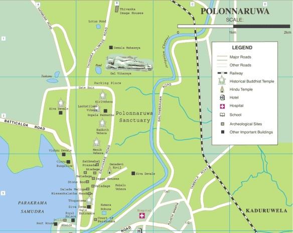 Polonnaruwa map, northern half