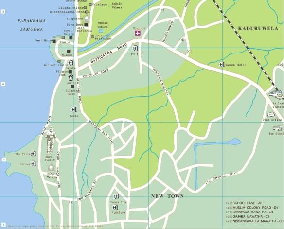 Polonnaruwa map, southern half