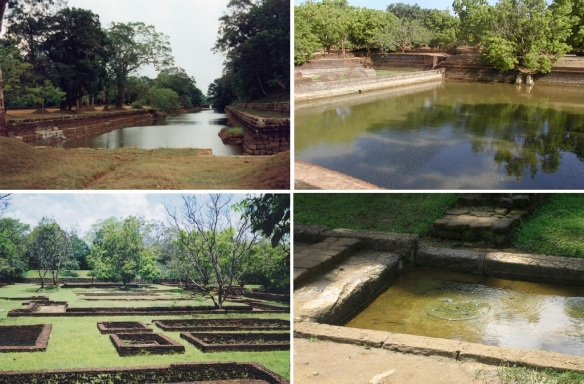 Water Garden Area; Views of the moat, pool, ruins of the gate-house and watercourse in the water garden complex.