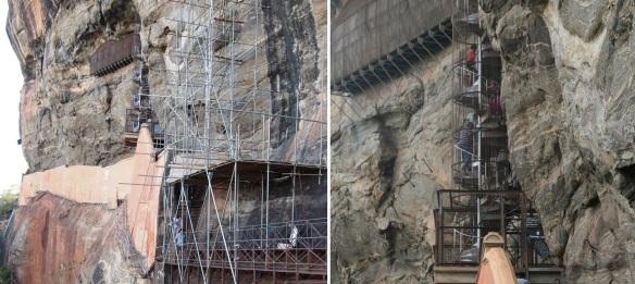 The spiral staircase of Sigiriya Rock