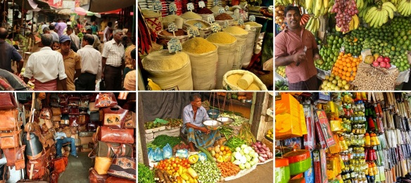 Stalls of fresh fruit, vegetables, local spices and handicrafts.
