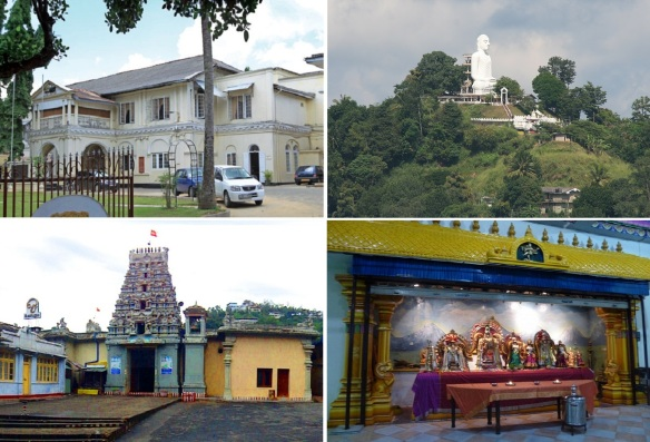 Kandy Town Hall, Buddha Statue on a hill, Hindu Temple and its Altar.
