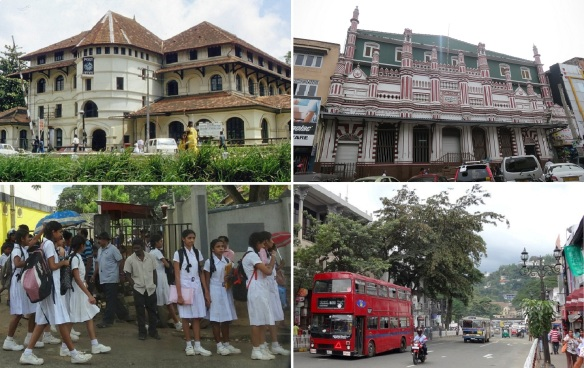 Kandy city walking; Kandy Central Post Office, a mosque, junior high schoolers in the white uniforms and red two floors bus from London.