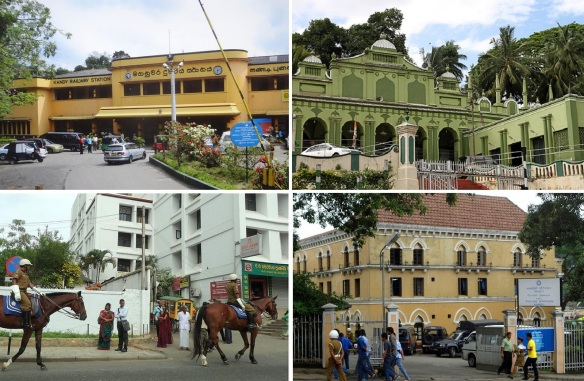 Kandy Railway Station, Green Mosque (Meera Macaam Mosque), Due South (mounted policemen) and Police Station of Kandy