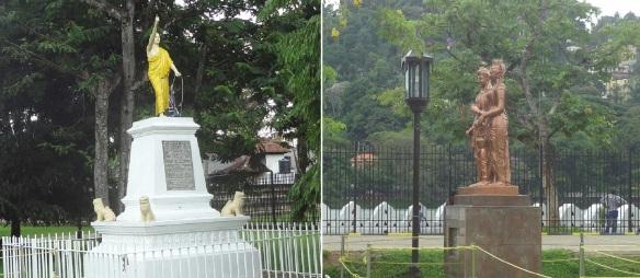 Statues of Hikkaduwe Sri Sumangala Thero (1827 – 1911) and Sri Dalada Maligawa Prince Dantha and Princess Hemamala on the garden.