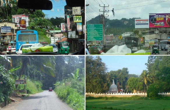 Scenery on the way from Kandy to Pinnawala, (photos taken from inside the car)