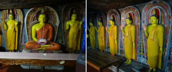 Sitting Buddha statue with the attendants and Images of Buddhism Saints of Aluvihāra Rock Cave Temple