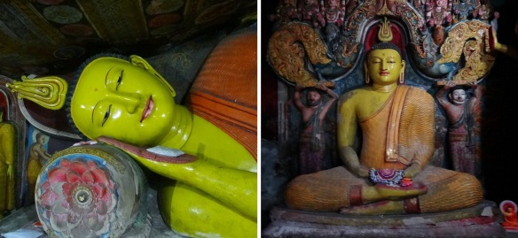 Buddha's sleeping face and sitting Buddha of Aluvihāra Rock Cave Temple.