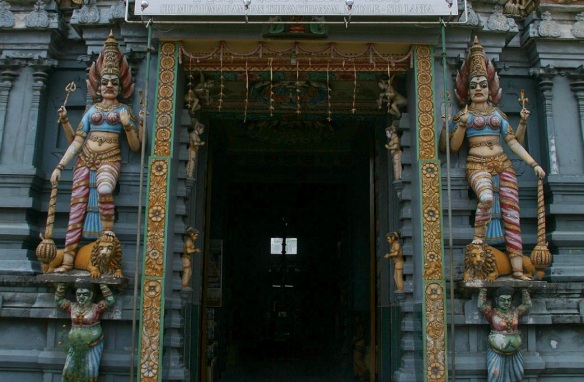 Entrance of a small shrine, a pair of horrible goddess, Sri Muthumariamman Temple Matale