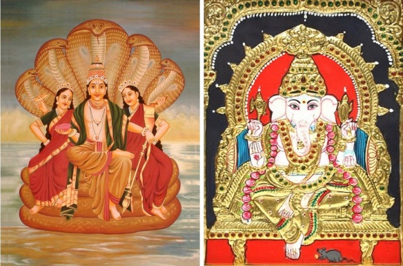 Hindu deity Lord Vishnu and Lord Maha Ganapathy