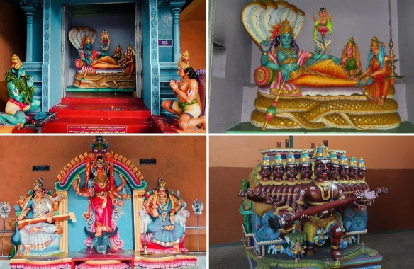 Very colorful deities in the main hall of Sri Muthumariamman Temple.