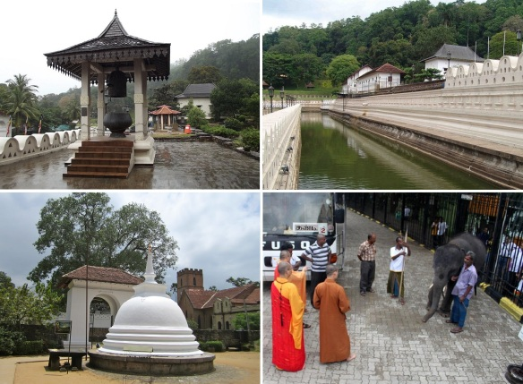Garden of the temple of the Tooth; Belfry, Royal Residence on the moat, Stupa and Breeding Elephant.