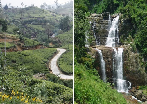 A narrow mountain pass and a water fall on the way from Tawalantenne to Nuwara Eliya.