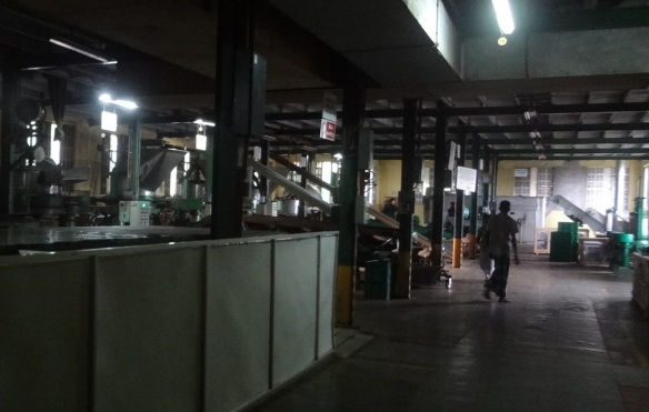 On the ground floor of the factory, a lot of machinery is installed.