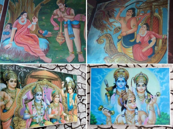 Religious paintings on inside and outside of Hanuman Temple.