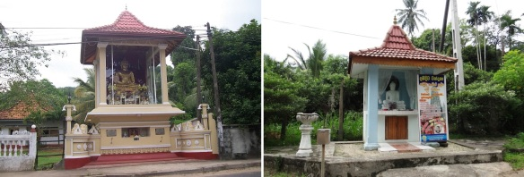 Leaving the Hanwella Town, the roadside small Buddhist shrines.
