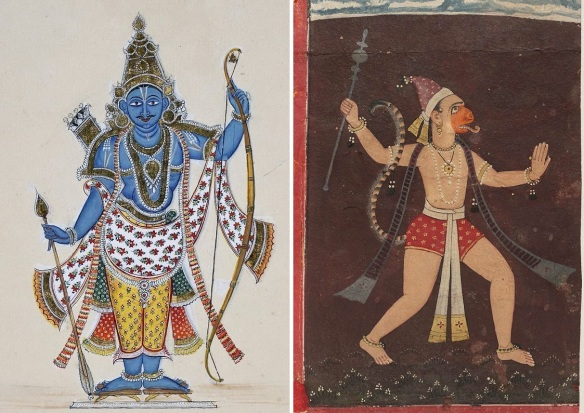 Hindu deities Lord Rama and Hanuman. Pictures from Wikipedia.