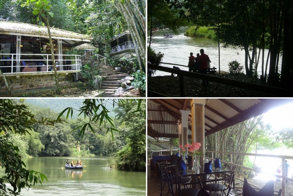 """Riverside restaurant of Kitulgala Rest House. Kelani Ganga River, Young people are enjoying the rafting. This is my table. """"What was the cuisine? Curry. Is it good? My mother's curry was the best."""""""