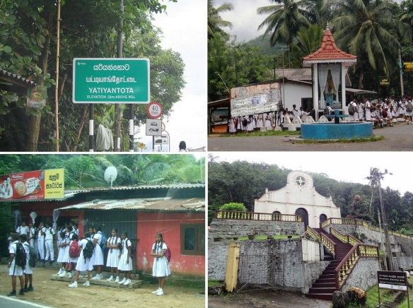 Yatiyanthota Town Centre, Junior high school students and the Christ Church on the highway A7