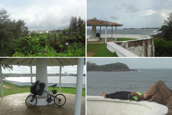Views of surrounding the hotel. A youth took a rest in the arbor. He was in a journey around Sri Lanka by bicycle.
