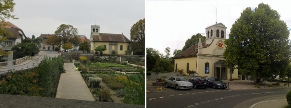 Garden and Church of the Prangins castle
