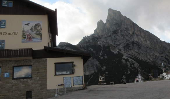 The Falzarego Pass; Refuge place and Mt. Sass de Stria.