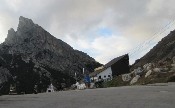 The Falzarego Pass ; Mt. Sass de Stria, Station of the ropeway and there is a little church.
