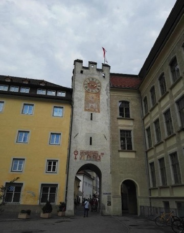 From the Ursuline Church, going to the Stadtgasse street through this narrow gate.
