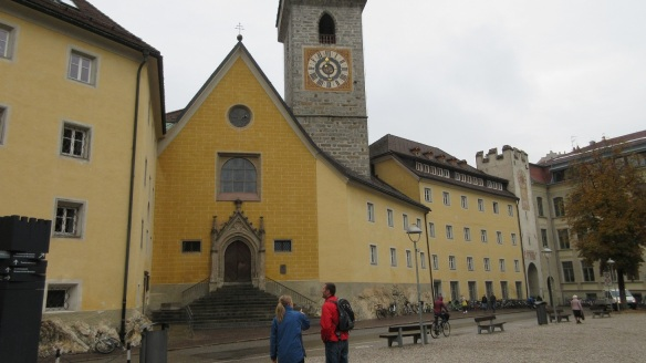 The Gothic Style Ursuline Church is the center of Bruneck.