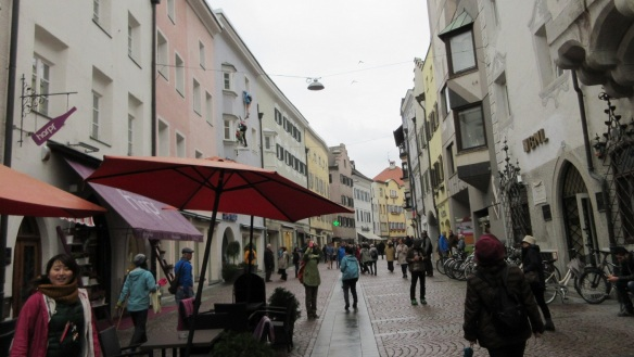 The historic atmosphere of the Stadtgasse street.