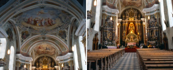 The ceiling paintings and Alter of the church are in the late Baroque style.