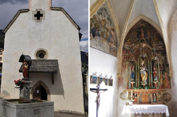 The façade and altar of St. Michael Church, Taufers.