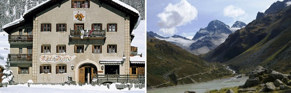 Hotel Piz Buin and Mount Piz Buin (Photos are from the hotel's brochure.)