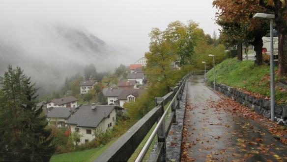 Go down the path to the Filisur village.