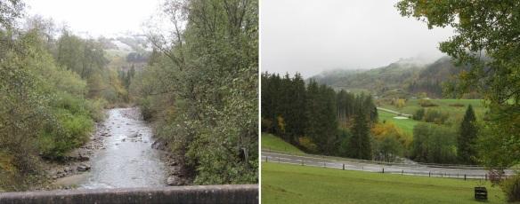 Cross a bridge over river Landwasser, going to the Landwasser Viaduct.