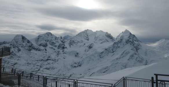 View from the observation deck of the Corvatsch station.